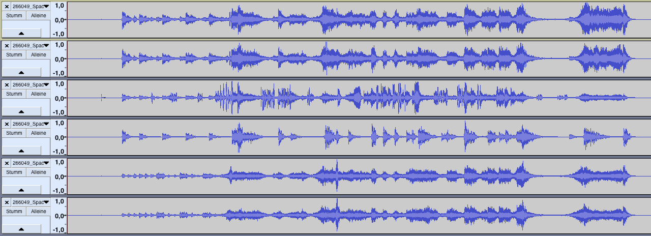 This is a typical timeline view of a 5.1 mix with a standard DCI channel layout.